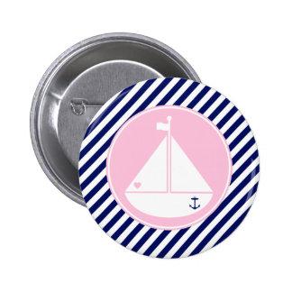 Velero azul y rosado pin redondo de 2 pulgadas