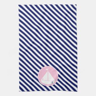 Velero azul y rosado toallas de cocina