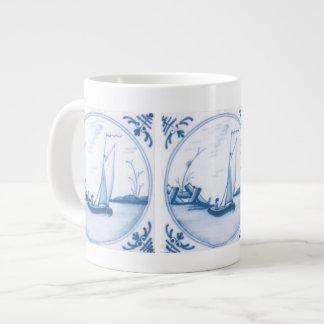 Velero blanco azul de Delft Taza De Café Grande