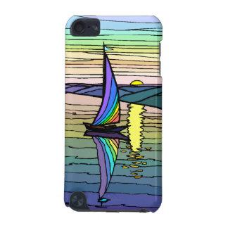 Velero cielo colorido del arco iris y mar