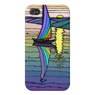 Velero cielo colorido y monograma iphone4 del mar iPhone 4 funda