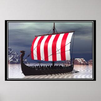 Velero de Drakkar Viking Poster