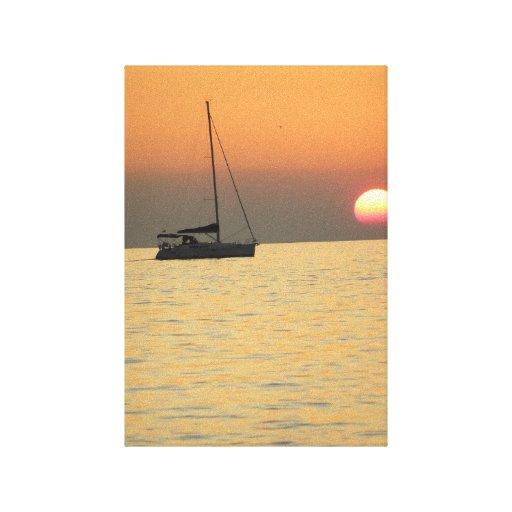 Velero de la puesta del sol impresiones de lienzo