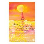 Velero de la puesta del sol inmóvil papelería de diseño