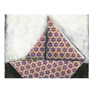 Velero de Origami en el papel del diseño de la Tarjeta Postal