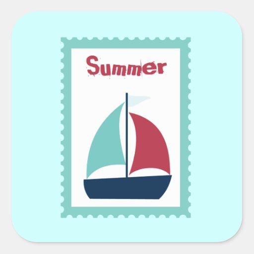 Velero del barco de vela de la navegación del pegatina cuadrada
