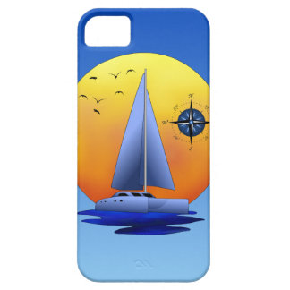 Velero del catamarán y rosa de compás funda para iPhone 5 barely there