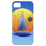 Velero del catamarán y rosa de compás iPhone 5 cárcasa