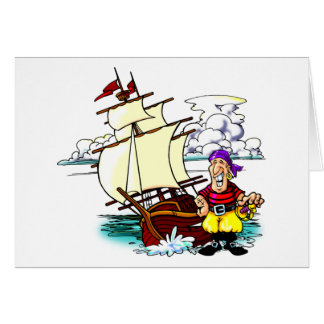 Velero del dibujo animado tarjeta de felicitación
