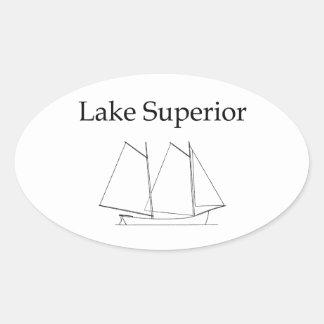 Velero del lago Superior Pegatina Ovalada