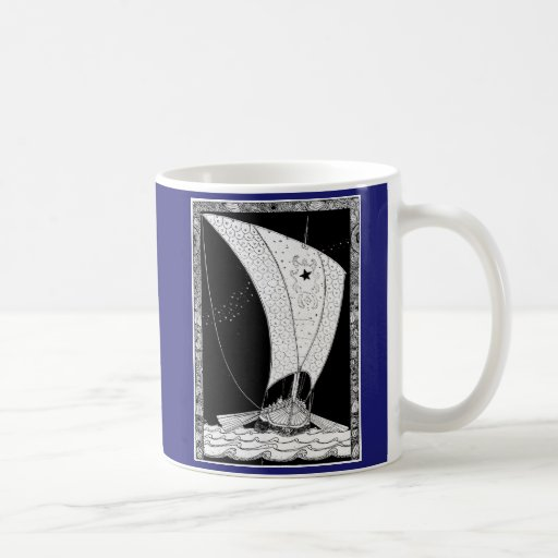 Velero del longship de Viking Tazas De Café