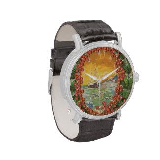 Velero del navidad del vintage reloj de mano