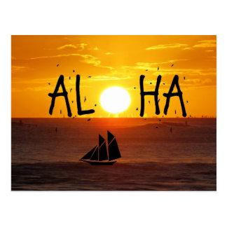 Velero del océano de la puesta del sol de Hawaii Tarjetas Postales