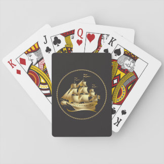 Velero del oro náutico baraja de cartas
