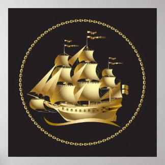 Velero del oro náutico poster