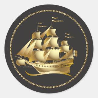 Velero del oro náutico pegatina redonda