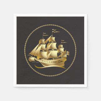 Velero del oro náutico servilleta de papel
