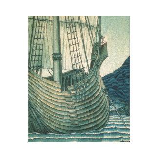 Velero del santo grial en el océano impresión en lienzo