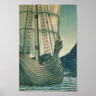 Velero del santo grial en el océano póster