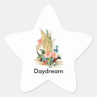 Velero del vintage con las flores pegatina en forma de estrella