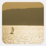Velero en el mar Mediterráneo Pegatina Cuadrada