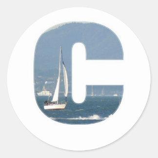 Velero en la letra C de San Francisco Bay Pegatina Redonda