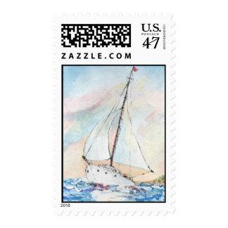 Velero en la pintura de la acuarela de la bella sello postal
