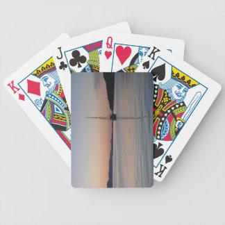 Velero en la puesta del sol cartas de juego