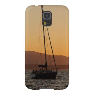 Velero en la puesta del sol en Puget Sound Carcasas De Galaxy S5
