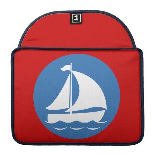 Velero en un círculo azul fundas para macbook pro