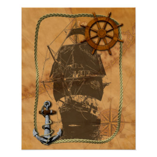 Velero histórico y mapa náutico póster