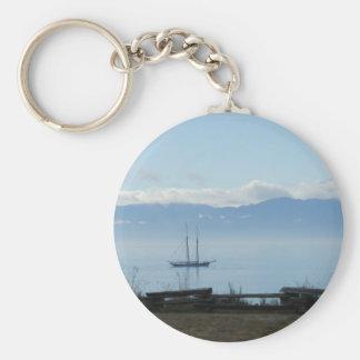 Velero, mañana tranquila Victoria costero Llavero Redondo Tipo Pin