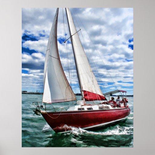 Velero rojo, cielo azul, mar verde póster