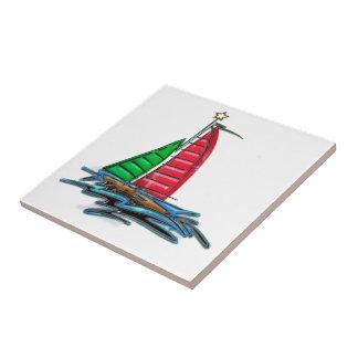 Velero rojo y verde del navidad azulejos