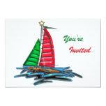 Velero rojo y verde del navidad invitación 12,7 x 17,8 cm