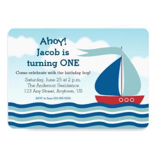 Velero y agua, invitación náutica del cumpleaños
