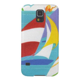 Veleros abstractos coloridos del vintage en agua carcasa de galaxy s5