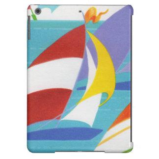 Veleros abstractos coloridos del vintage en agua funda para iPad air