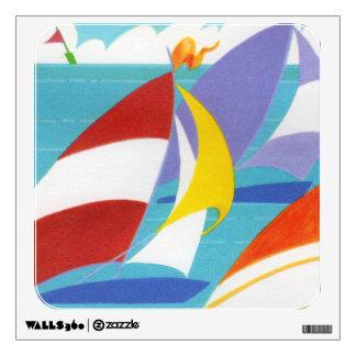 Veleros abstractos coloridos del vintage en agua vinilo