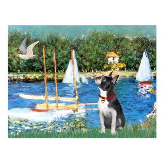 Veleros - #@ de Boston Terrier Tarjeta Postal