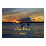 Veleros del feliz cumpleaños de David en la puesta Tarjetas