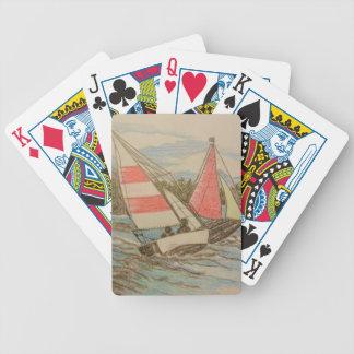 Veleros dibujados mano baraja de cartas