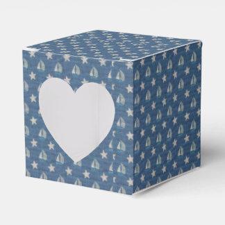 Veleros en el lino azul caja para regalos