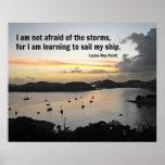 Veleros en el puerto con cita sobre tormentas posters