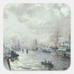 Veleros en el puerto de Hamburgo, 1889 Pegatina Cuadrada