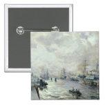 Veleros en el puerto de Hamburgo, 1889 Pin Cuadrado