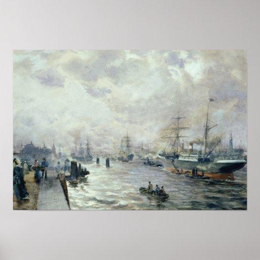 Veleros en el puerto de Hamburgo, 1889 Póster