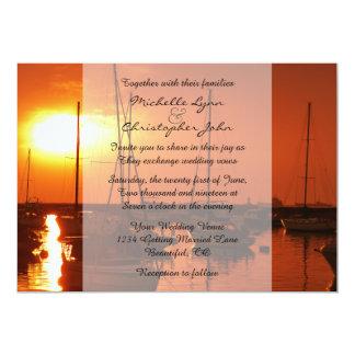 Veleros en la invitación del boda de playa de la invitación 12,7 x 17,8 cm