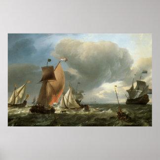 Veleros en los mares agitados C. 1690 Póster