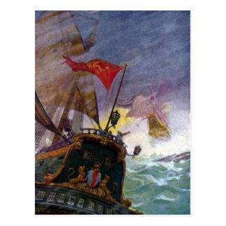 Veleros en un mar tempestuoso tarjetas postales